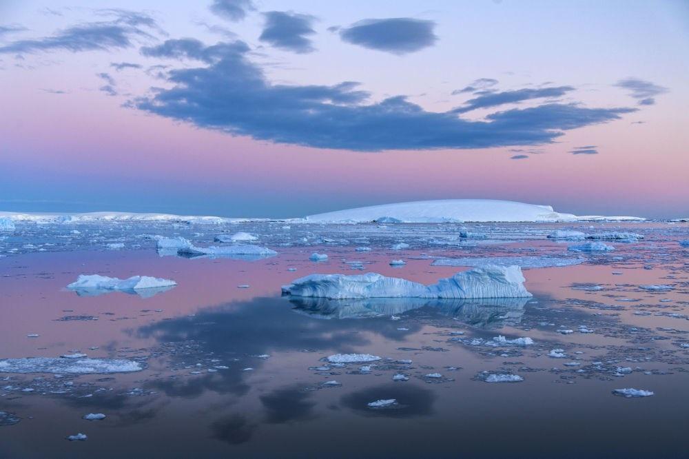 Những tảng băng trôi trong đêm trắng ở biển Weddell, gần Bán đảo Nam Cực. (Nguồn: Sputniknews)