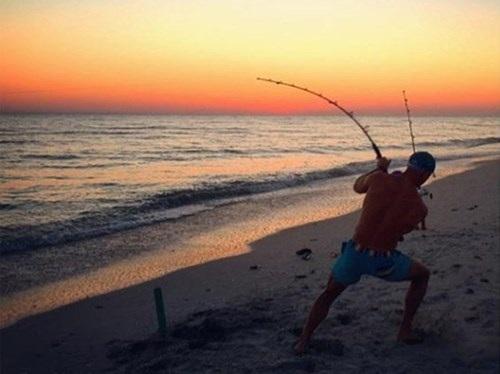 Hàng ngày, anh dùng cần câu để bắt cá mập đang săn mồi trên biển.