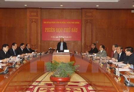 Tổng Bí thư Nguyễn Phú Trọng, Trưởng Ban Chỉ đạo, chủ trì phiên họp. (Ảnh: Trí Dũng/TTXVN)