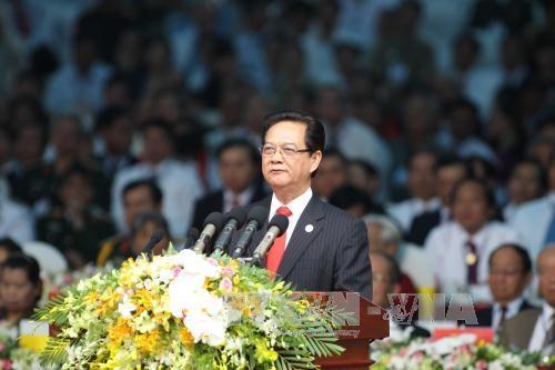 Thủ tướng Nguyễn Tấn Dũng đọc diễn văn tại lễ kỉ niệm (Ảnh: TTXVN)