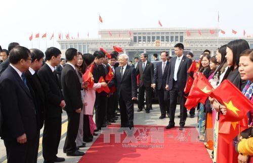 Lễ tiễn Tổng Bí thư Nguyễn Phú Trọng tại Sân bay Quốc tế Bắc Kinh. Ảnh: Trí Dũng – TTXVN
