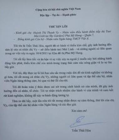 Lá thư xin lỗi của ông Trần Thái Hòa