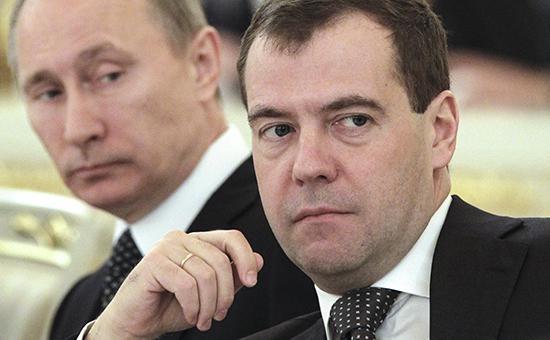 Cặp đôi quyền lực nhất nước Nga, Tổng thống Vladimir Putin và Thủ tướng Dmitry Medvedev (Ảnh: