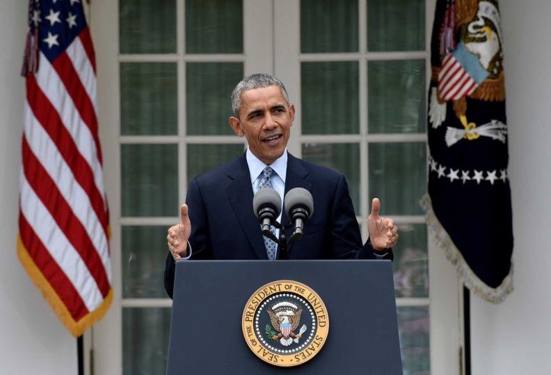 Tổng thống Obama phát biểu tại Vườn Hồng (Ảnh: