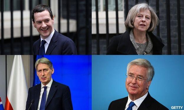Bốn gương mặt chính trong nội các Anh tiếp tục được Thủ tướng Cameron giữ lại (Ảnh: