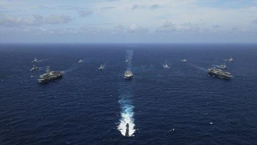 Lần tập trận hải quân chung gần đây nhất giữa Nhật Bản với Mỹ và Ấn Độ diễn ra năm 2007