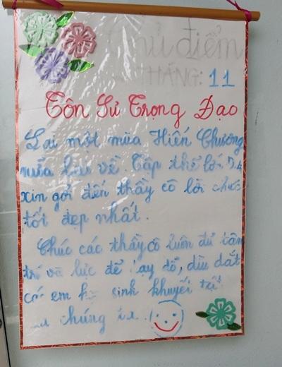 Lời chúc của các em học sinh viết tặng thầy cô giáo