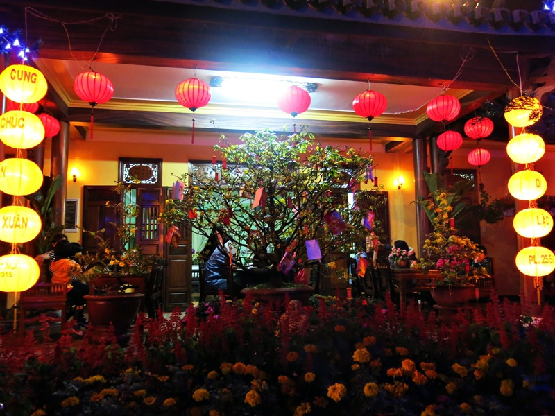 Khuôn viên nhà chùa trưng bày trang nghiêm và nhiều sắc hoa xuân