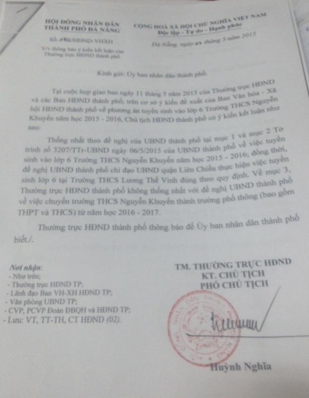 Thông báo của HĐND TP Đà Nẵng về phương án tuyển sinh lớp 6 vào THCS Nguyễn Khuyến.
