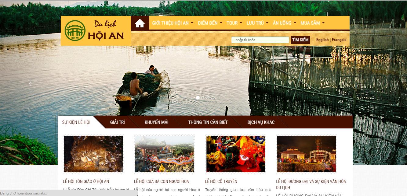 Giao diện trang thông tin du lịch Hội An