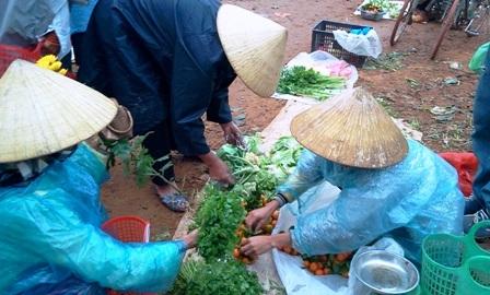 Hàng hoá của các mẹ bán chủ yếu là sản vật vườn nhà.