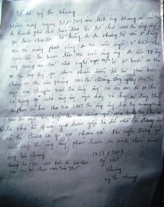 Giấy viết tay xác nhận của bà Nguyễn Thị Nhung vào ngày 14/2 về sự việc nêu trên.