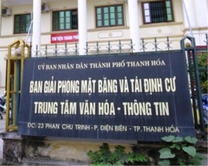 Ban giải phóng mặt bằng và tái định cư thành phố Thanh Hóa nơi xảy ra vụ việc