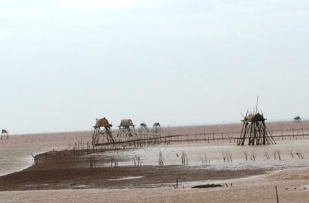 Ngư dân trên các chòi canh ở vùng biển Kim Sơn, Ninh Bình đã được đưa vào bờ.