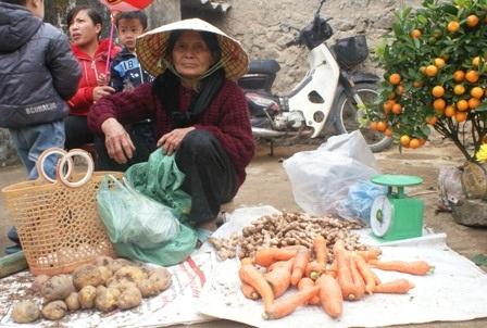 Các sản phẩm bày bán tại chợ chủ yếu là cây nhà lá vườn