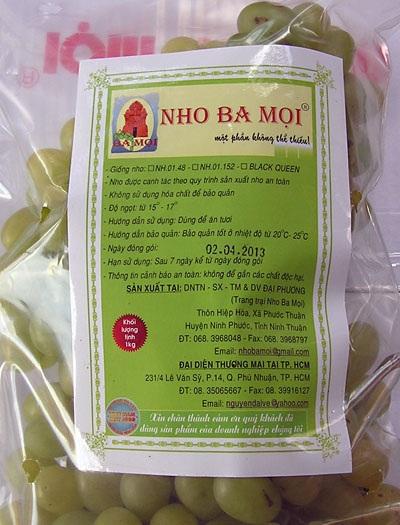 Sản phẩm nho Ninh Thuận chính gốc phải có đầy đủ thông tin trên bao bì