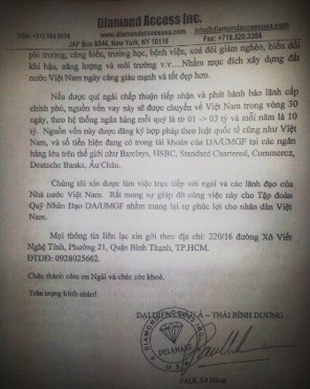 Trang thư ngỏ của ông Paul Lê Hùng gửi đến các cơ quan đầu tư