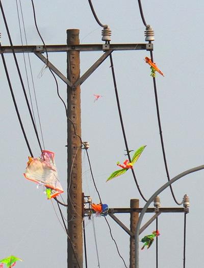 Luôn tiền ẩn những nguy hiểm khi thả diều gần dây điện