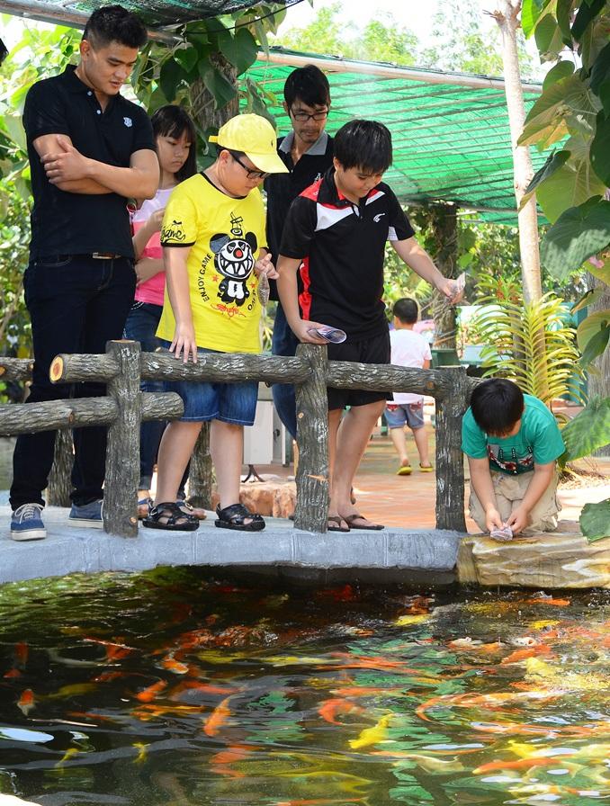 Người dân thành phố tham quan tại khu du lịch cá khủng