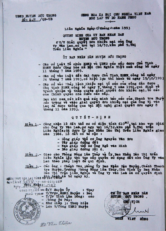 Lá đơn bà Lích gửi đến Báo Dân trí - Ảnh Trung Kiên