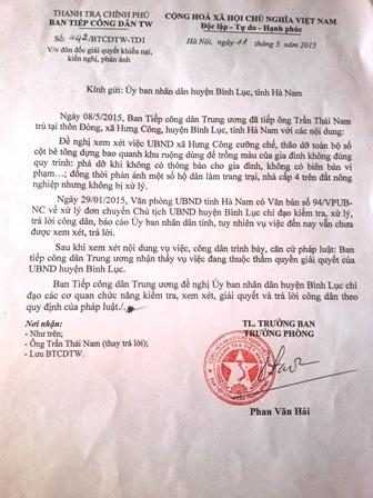 Văn bản Ban tiếp dân Trung ương đề nghị UBND huyện Bình Lục sớm giải quyết vụ việc.