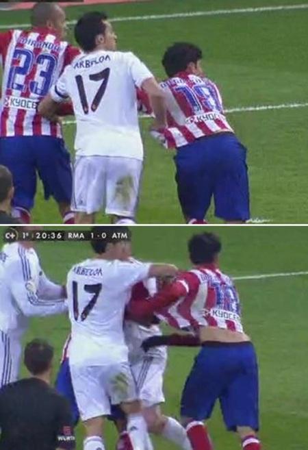 Phút 20: Arbeloa kéo áo Diego Costa trong vòng cấm địa nhưng trọng tài không thổi phạt đền.