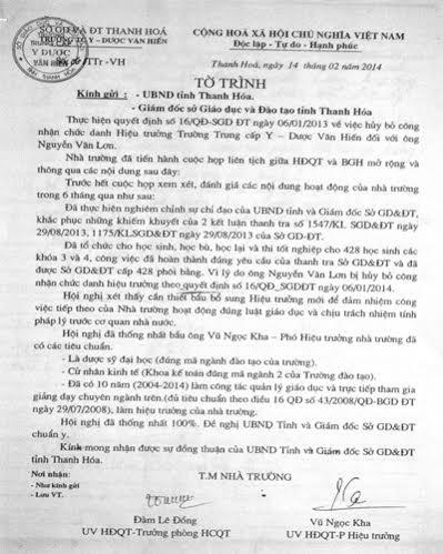 Tờ trình của trường Y dược Văn Hiến gửi Sở GD-ĐT Thanh Hóa