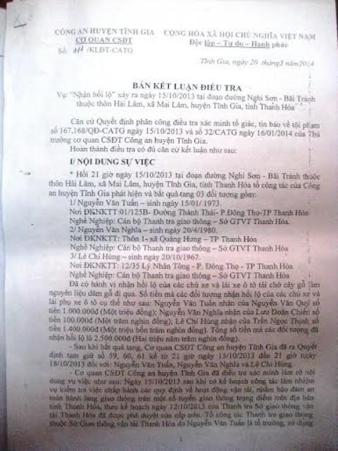 Bản kết luận điều tra sự việc của Công an huyện Tĩnh Gia