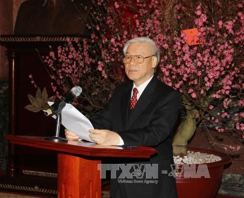 Tổng Bí thư Nguyễn Phú Trọng phát biểu tại cuộc gặp mặt (Ảnh: Trí Dũng – TTXVN).