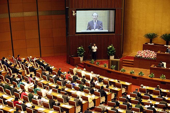 Chủ tịch Quốc hội Nguyễn Sinh Hùng phát biểu khai mạc kỳ họp (ảnh: Việt Hưng).