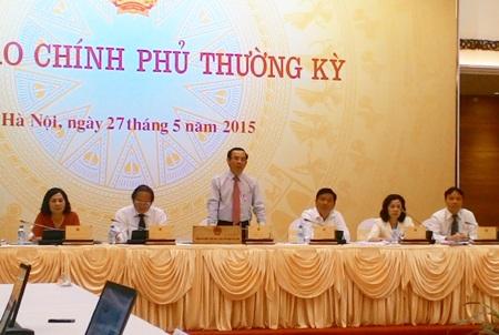 Bộ trưởng Nguyễn Văn Nên chủ trì cuộc họp báo chiều tối 27/5.
