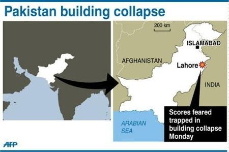 Pakistan: Sập nhà máy, 3 người chết, 100 người mắc kẹt - 1