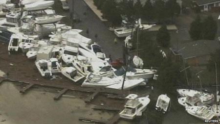 Các quận ven biển ở đông bắc Mỹ thiệt hại nặng nề.