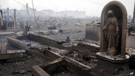 Những gì để lại sau hỏa hoạn lớn ở Breezy Point, quận Queens, thành phố New York.
