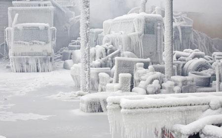 Một loạt xe tải phủ trong lớp băng trắng.
