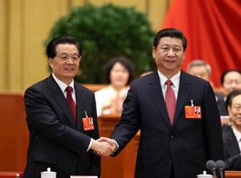 Ông Hồ CẩmĐào chúc mừng người kế nhiệmông, tân chủ tịchTập Cận Bình.