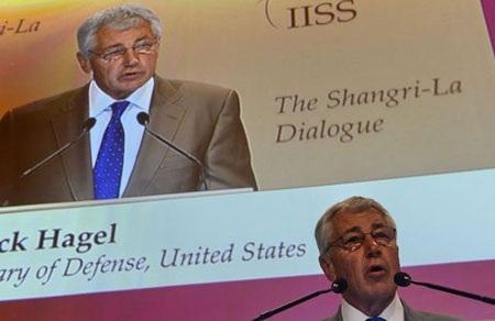 Bộ trưởng Quốc phòng Mỹ Hagel phát biểu tại Đối thoại Shangri-La ở Singapore ngày 1/6.