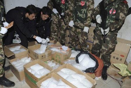 3 tấn ma túy đá đã được thu giữ trong cuộc đột kích.