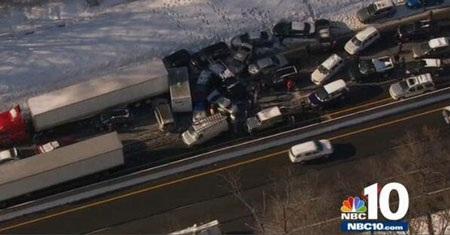 Chiếc xe đã gây ra một vụ đâm liên hoàn liên quan tới khoảng 75 chiếc xe.