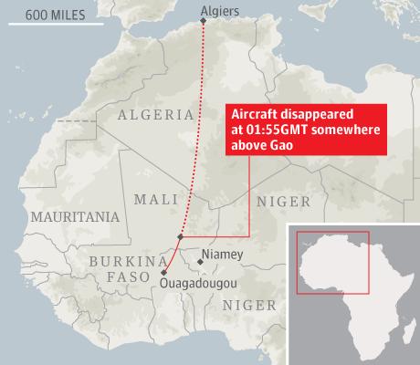 Họa đồ đường bay dự kiến và vị trí mất tích của máy bay Algeria.