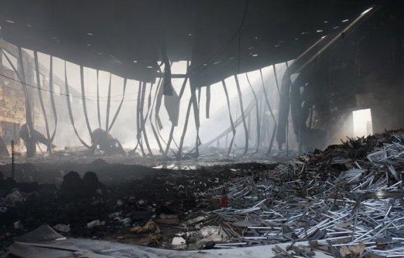 Hiện trường vụ cháy sau khi lửa được dập tắt