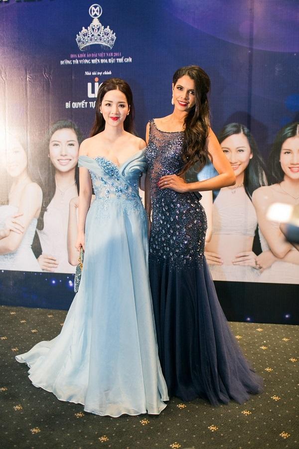 Hoa hậu Giáng My đọ dáng bên cựu hoa hậu thế giới Ivian Sarcos