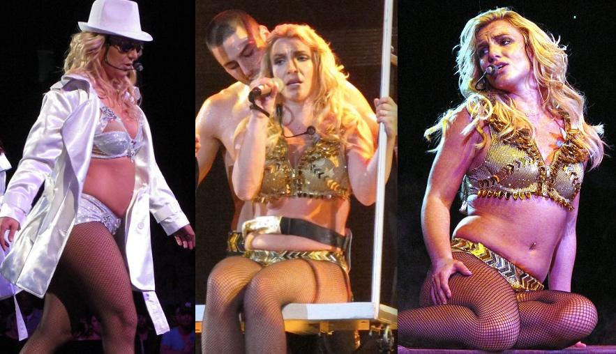 Britney với thân hình nặng nề trong tour diễn năm 2009.