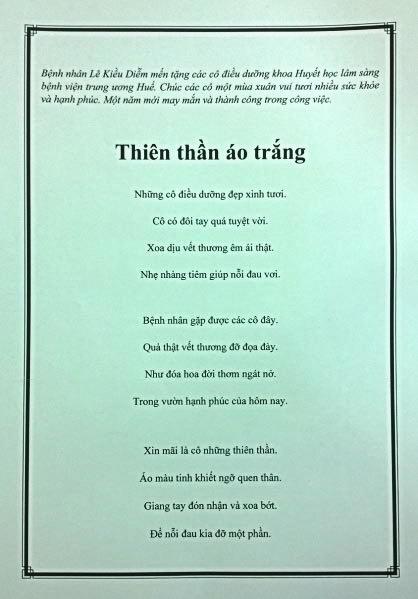Bài thơ bệnh nhân Kiều Diễm tặng riêng cho các điều dưỡng ở Khoa Huyết học lâm