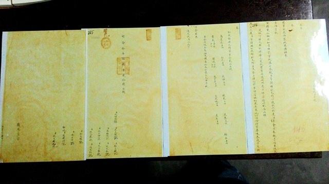 4 tờ châu bản về gia giảm Quy tỳ hoàn mà Thái y viện dâng lên cho vua Minh Mạng năm 1829