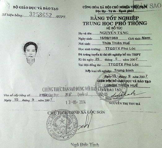 Bản sao bằng tốt nghiệp THPT hệ bổ túc của ông Tãng là bằng giả