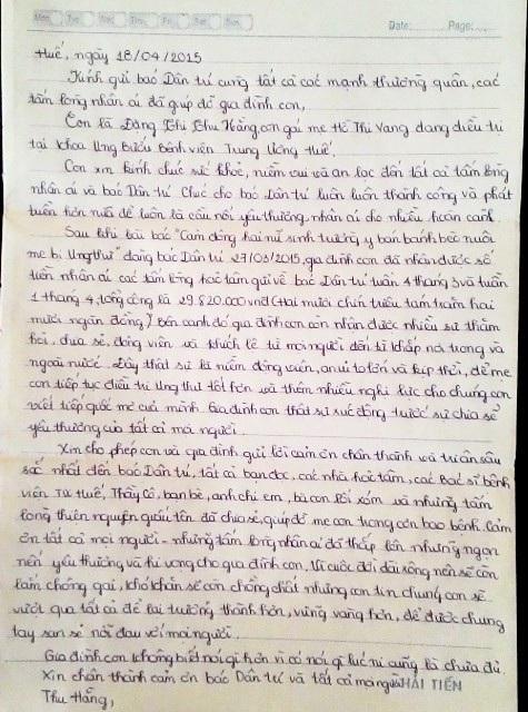 Bức thư tay em Hằng gửi cảm ơn mọi người