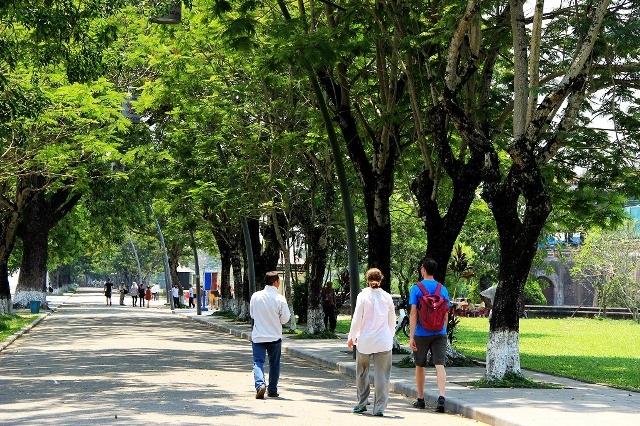 Du khách dạo bước trên cung đường xanh dẫn vào Đại Nội