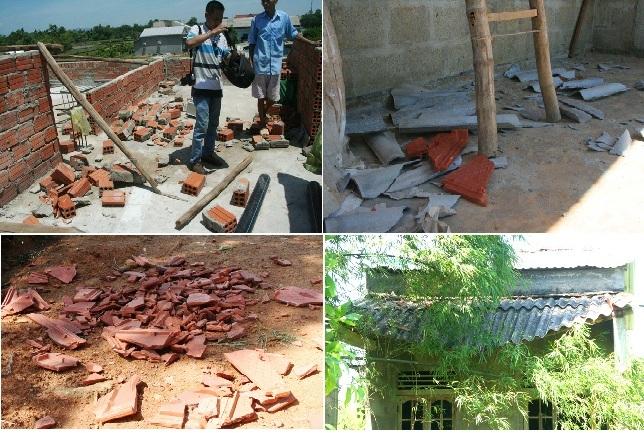 Một số hình ảnh đổ vỡ, hư hỏng nhà cửa ở xã này khi lốc đi qua