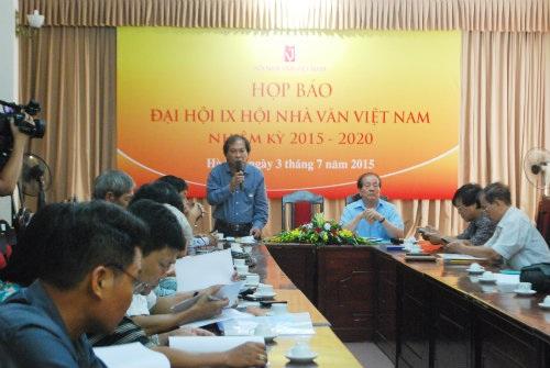 Họp báo Đại hội nhà văn Việt Nam lần thứ 9. (Ảnh: Hội nhà văn)